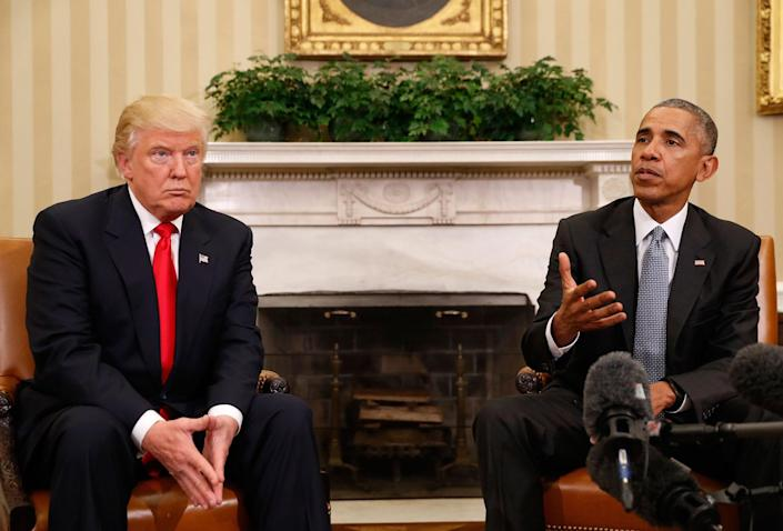 <p>President Barack Obama meets with President-elect Donald Trump in the Oval Office of the White House in Washington, Thursday, Nov. 10, 2016. (AP Photo/Pablo Martinez Monsivais) </p>