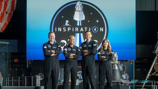 PHOTO: The Inspiration4 crew,Chris Sembroski, Sian Proctor, Jared Isaacman and Hayley Arceneaux pose for a photo, July 1, 2021. (John Kraus/Netflix via Getty Images)