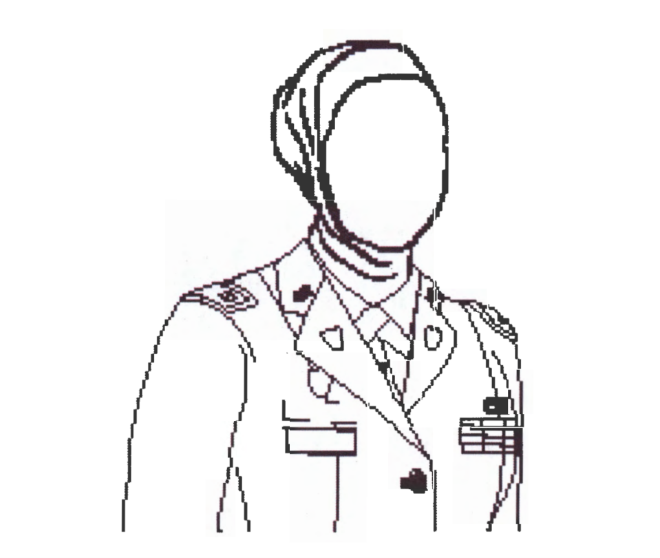 An illustration of a military-authorized hijab obtained from Army Direction 2017-13 (Photo: U.S. Army)