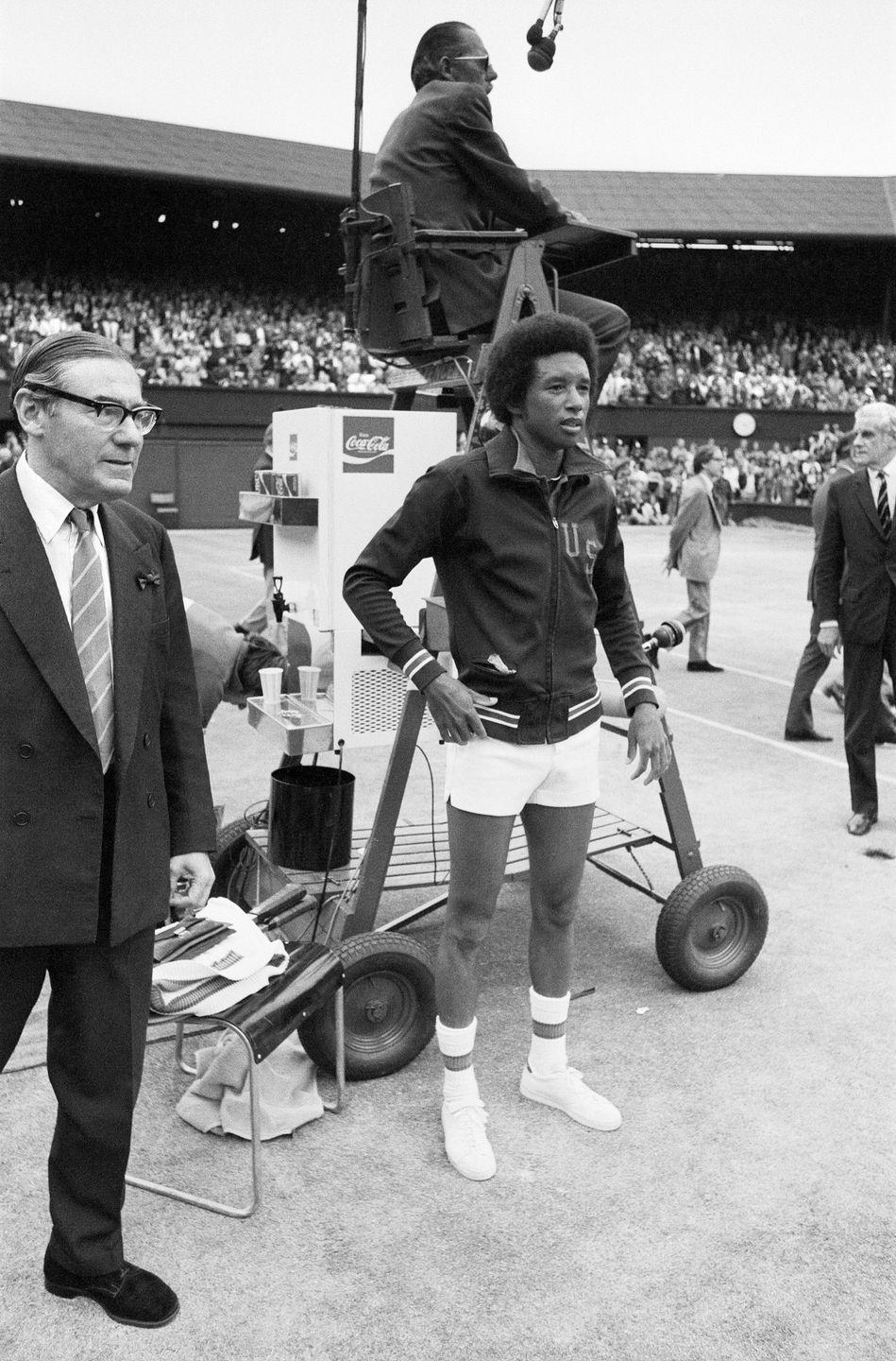 <p>Arthur Ashe after his victory against defending champion Jimmy Connors in the 1975 Wimbledon final.</p>