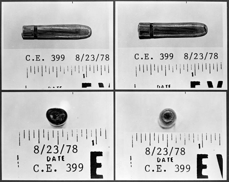 This series of June 13, 1967 photographs provided by the Warren Commission shows four sides of a bullet, found at Parkland Hospital, which is the subject of a dispute over which stretcher it had come from - Texas Gov. John Connally's or President John F. Kennedy's. Tests show it came from Lee Harvey Oswald's rifle, and it is almost undamaged. (AP Photo/Warren Commission)