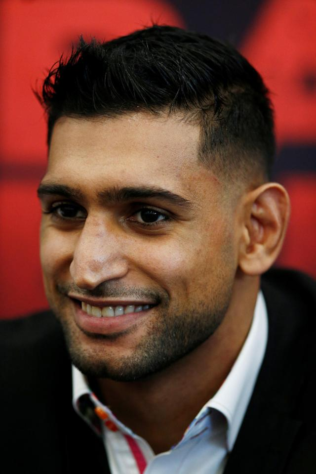 Boxing - Amir Khan & Phil Lo Greco Press Conference - Royal Liver Building, Liverpool, Britain - April 19, 2018 Amir Khan during the press conference Action Images via Reuters/Andrew Couldridge