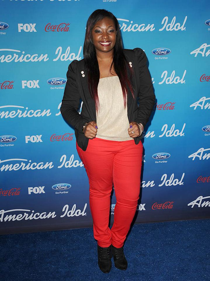 "Candice Glover attends the FOX ""American Idol"" finalists party at The Grove on March 7, 2013 in Los Angeles, California."