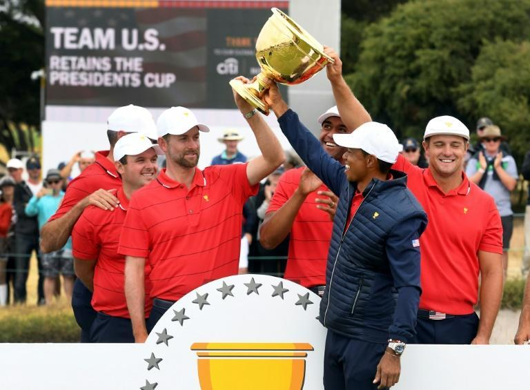 Captain Tiger Woods celebrates with his victorious US Presidents Cup team in 2019. US Ryder Cup captain Steve Stricker hopes the 15-time major champion can serve as an assistant at Whistling Straits in September