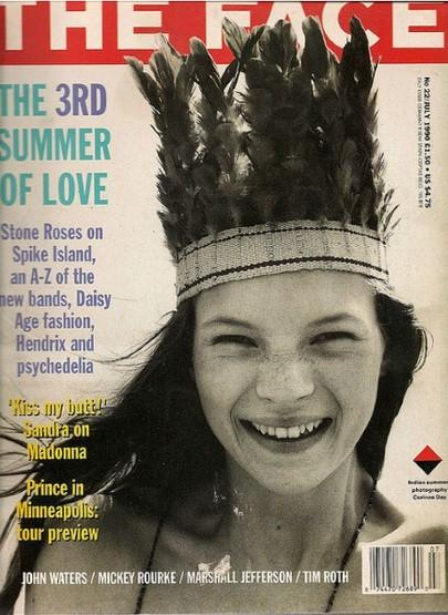 <p>On one of her of her very first covers, a 15-year-old Moss crinkled her face in joy at the camera, a summer breeze capturing the movement of the moment. (Photo: The Face)</p>