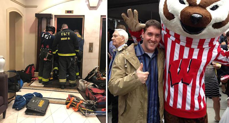 Firefighters at the New York elevator and right Sam Waisbren who was crushed to death.