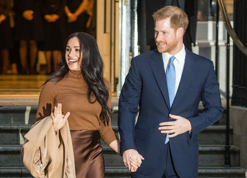 LONDON, ENGLAND - JANUARY 07: Prince Harry, Duke of Sussex and Meghan, Duchess of Sussex arrive at Canada House on January 07, 2020 in London, England. (Photo by Samir Hussein/WireImage)