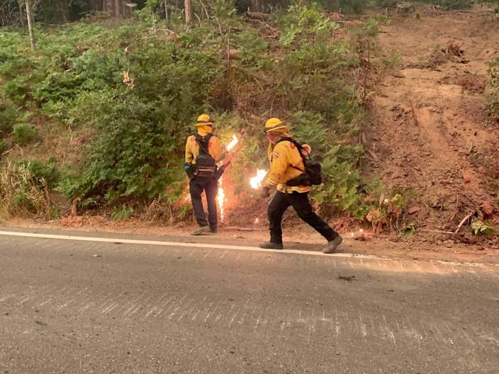 Firefighters battling the Creek Fire set backfires along Highway 168. The wildfire has burned more than 45,000 acres, forced numerous evacuations and as of Sunday afternoon, Sept. 6, 2020, was 0% contained.