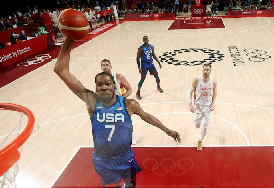 Kevin Durant is coming alive for Team USA men's hoops at the right time in Tokyo. (Photo by Gregory Shamus/Getty Images)