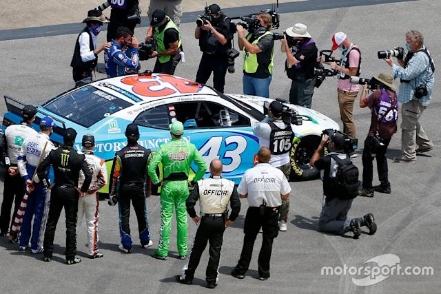 """Nascar drivers stand in solidarity with Darrell Wallace Jr., Richard Petty Motorsports, Chevrolet Camaro before the Nascar Cup race <span class=""""copyright"""">NASCAR Media</span>"""