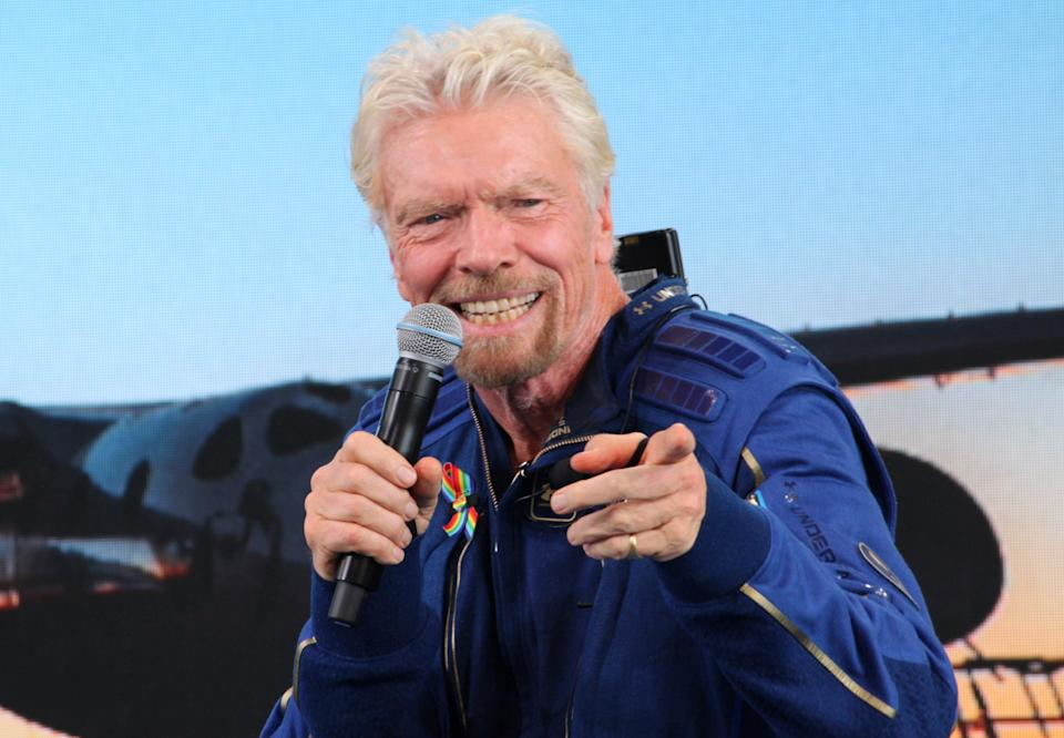 Sir Richard Branson during a news conference at Spaceport America, New Mexico (AP)