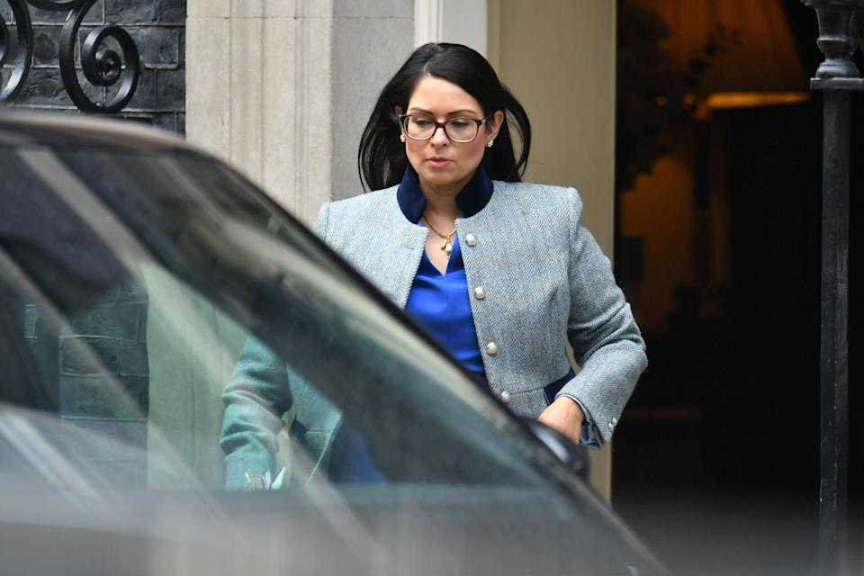 <strong>Home Secretary Priti Patel leaves 10 Downing Street, London, following a cabinet meeting over Covid-19</strong> (Photo: PA)