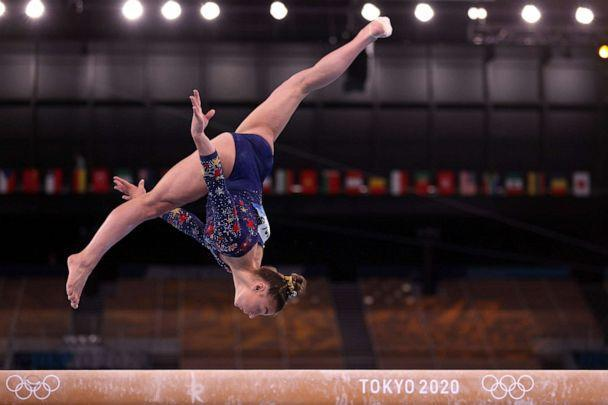 PHOTO: Grace McCallum of the United States competes on the balance beam during Women's Qualification on day two of the Tokyo 2020 Olympic Games at Ariake Gymnastics Centre on July 25, 2021 in Tokyo, Japan. (Ezra Shaw/Getty Images)