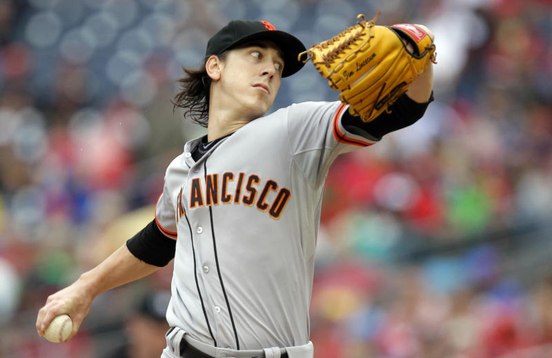 Tim Lincecum got his way in an arbitration case against the San Francisco Giants after bringing his Cy Young Awards to the courtroom. (AP Photo/Luis M. Alvarez)