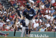 Tampa Bay Rays' Austin Meadows drops his bat as he watches his baseball game-tying inside-the-park home run against the Boston Red Sox during the ninth inning Monday, Sept. 6, 2021, at Fenway Park in Boston. (AP Photo/Winslow Townson)