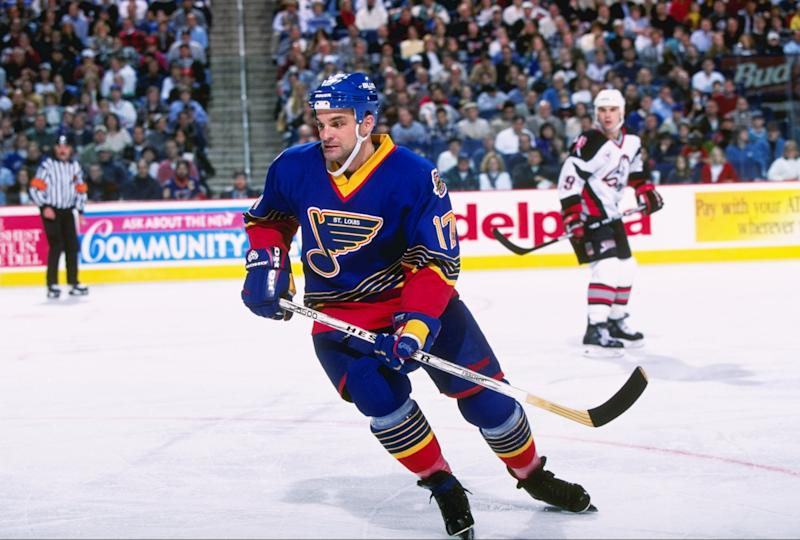 3 Jan 1997: Rightwinger Joe Murphy of the St. Louis Blues moves down the ice during a game against the Buffalo Sabres at the Marine Midland Arena in Buffalo, New York. The game was a tie, 2-2.