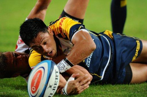 Brumbies' flyhalf Christian Lealiifano, seen here in April 2012, scored two conversions before injuring his knee