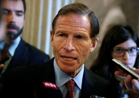 FILE PHOTO: Senator Richard Blumenthal (D-CT) speaks to reporters on Capitol Hill in Washington, U.S., January 22, 2018. REUTERS/Joshua Roberts