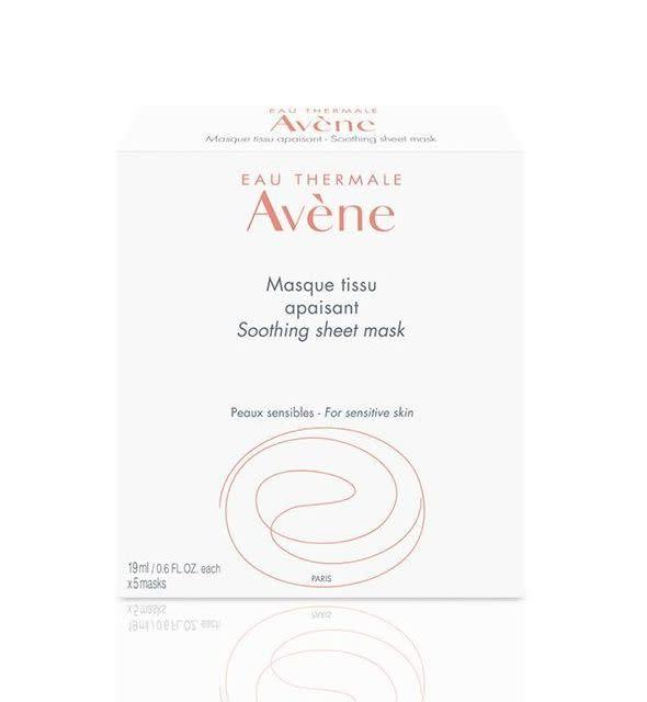 "If you're looking for a soothing mask that can be used on sensitive skin, we suggest Av&egrave;ne's Soothing sheet mask, which contains cellulose and sorbitol to help with hydration.&nbsp;<br><br><strong><a href=""https://www.aveneusa.com/skin-care/mask/soothing-sheet-mask"" rel=""nofollow noopener"" target=""_blank"" data-ylk=""slk:Av&egrave;ne Soothing Sheet Mask"" class=""link rapid-noclick-resp"">Av&egrave;ne Soothing Sheet Mask</a>, $42 for a pack of 5</strong>"