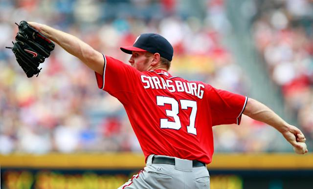 ATLANTA, GA - MAY 26: Stephen Strasburg #37 of the Washington Nationals pitches to the Atlanta Braves at Turner Field on May 26, 2012 in Atlanta, Georgia. (Photo by Kevin C. Cox/Getty Images)