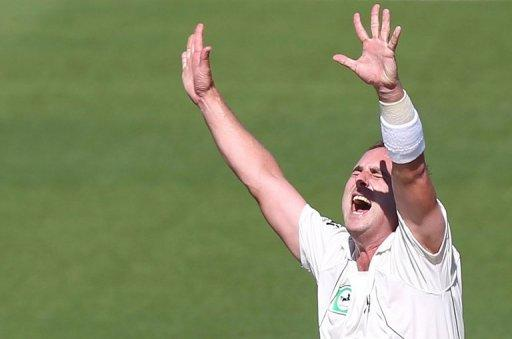 Mark Gillespie of New Zealand celebrates Alviro Petersen of South Africa being caught with LBW during day two of their second five day international cricket Test match at Seddon Park in Hamilton, on March 16
