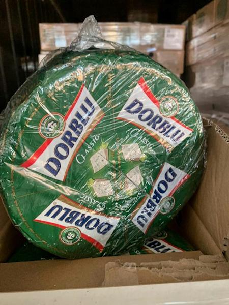 The shipment included Dorblu blue cheese and Italian hard cheeses such as Grana Padano, the customs service said