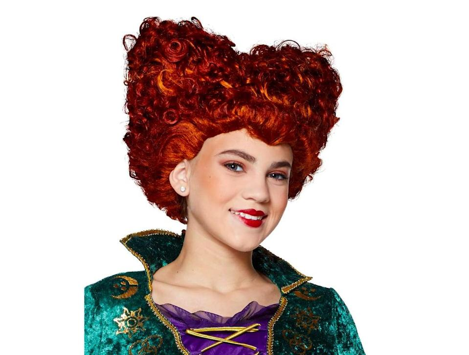 <p>Complete your kid's Winifred Sanderson look with this <span><strong>Hocus Pocus</strong> Tween Winifred Sanderson Wig</span> ($17, currently sold out but available in an <span>adult size here</span> for $20), which can fit most older children. The wig is just the right shade of bright red. </p>