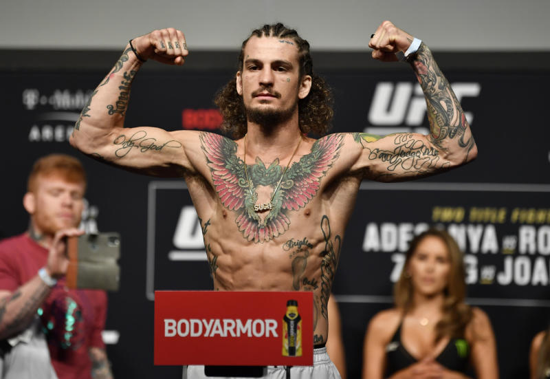 LAS VEGAS, NEVADA - MARCH 06: Sean O'Malley poses on the scale during the UFC 248 weigh-in at T-Mobile Arena on March 06, 2020 in Las Vegas, Nevada. (Photo by Jeff Bottari/Zuffa LLC)