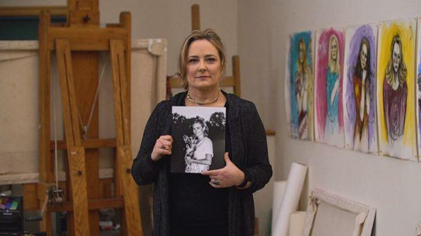 PHOTO: Maria Farmer holds a photo of her younger self. (ABC News)