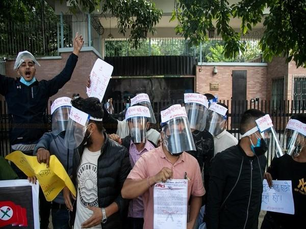 Anti-China protests outside the Chinese Embassy in Kathmandu
