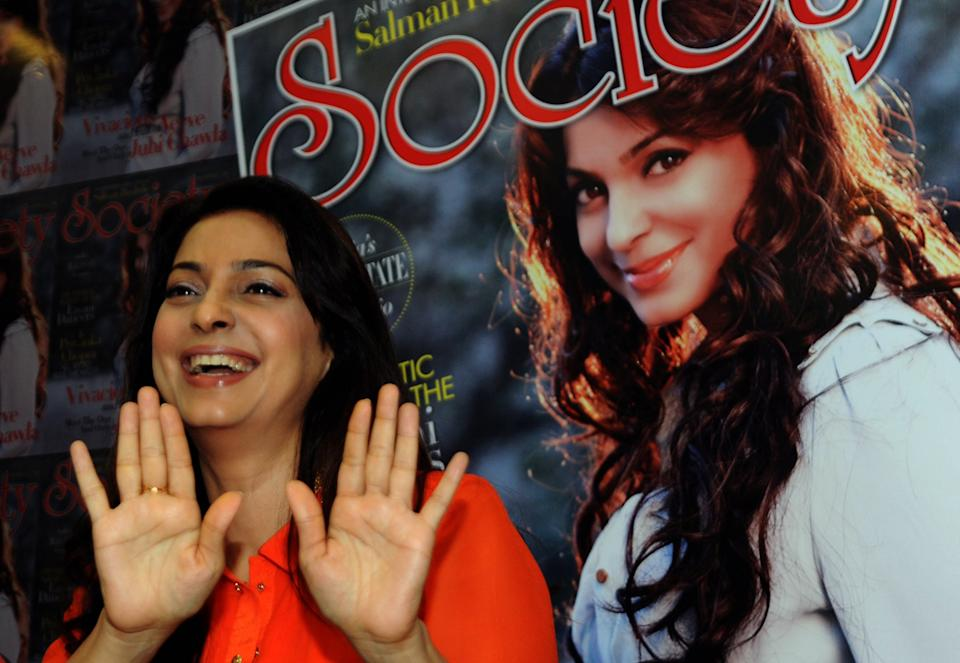 Indian Bollywood actress Juhi Chawla poses during the unveiling of the latest edition of Society magazine with her picture on the cover in Mumbai on November 5, 2015.   AFP PHOTO        (Photo credit should read STR/AFP via Getty Images)