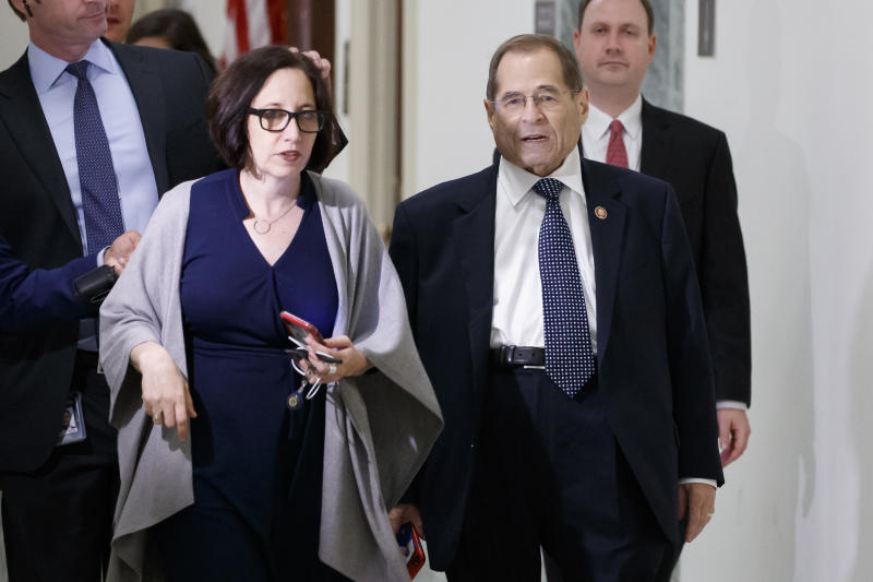 House Judiciary Committee Chairman Jerrold Nadler, of N.Y., front right, arrives for a mock hearing on Capitol Hill, Tuesday, July 23, 2019, in Washington. Special counsel Robert Mueller will testify to the committee on Wednesday.  (AP Photo/Alex Brandon)