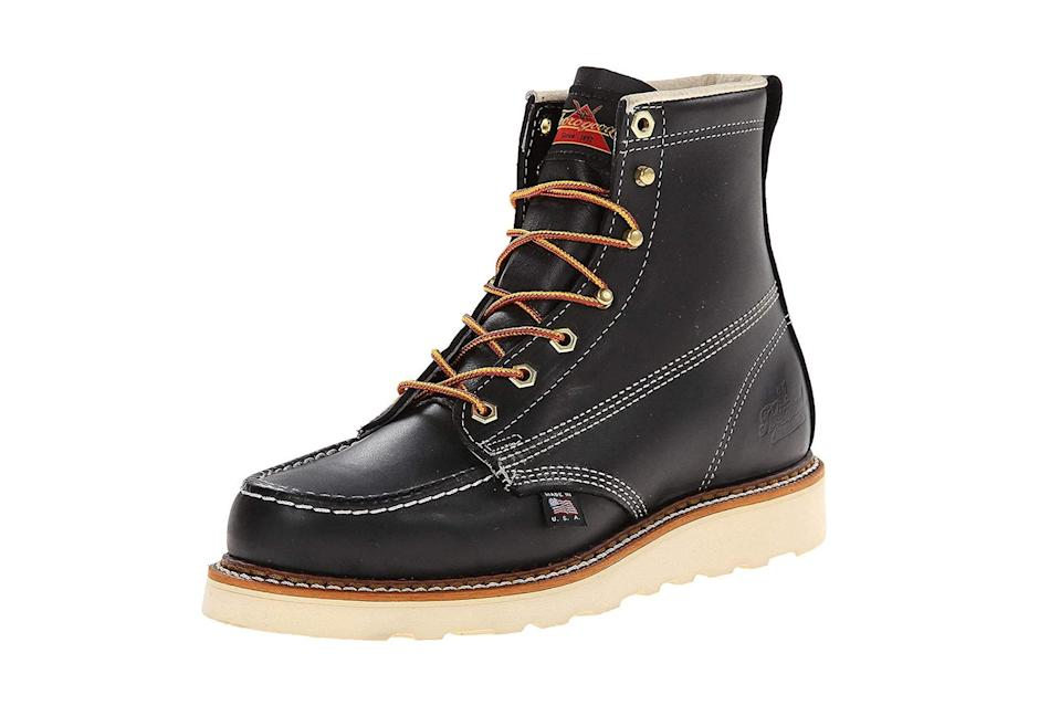 "$205, Amazon. <a href=""https://www.amazon.com/Thorogood-American-Heritage-Boot-Black/dp/B004OWQVF8/ref=sr_1_1_sspa?dchild=1&keywords=thorogood&qid=1600448376&s=apparel&sr=1-1-spons&spLa=ZW5jcnlwdGVkUXVhbGlmaWVyPUEySk1WN0dUWVIwVjlCJmVuY3J5cHRlZElkPUEwMjkwMzIyM0hXRFlLUVlUNlUxQSZlbmNyeXB0ZWRBZElkPUEwMjAyOTkwMjVKMU1BOVo0VUVMNyZ3aWRnZXROYW1lPXNwX2F0ZiZhY3Rpb249Y2xpY2tSZWRpcmVjdCZkb05vdExvZ0NsaWNrPXRydWU&th=1&psc=1"" rel=""nofollow noopener"" target=""_blank"" data-ylk=""slk:Get it now!"" class=""link rapid-noclick-resp"">Get it now!</a>"