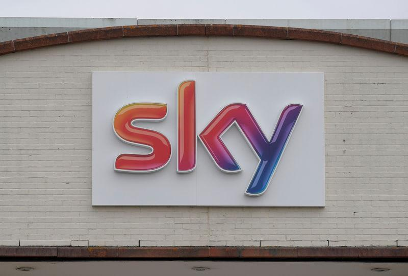 FILE PHOTO: The Sky News logo is seen on the outside of offices and studios in west London