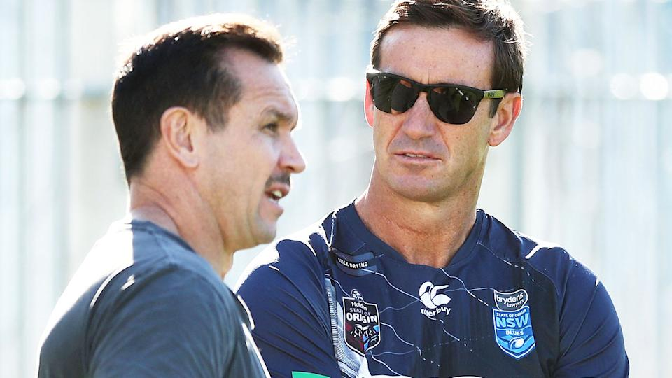 Matthew and Andrew Johns, pictured here during a NSW training session in 2018.