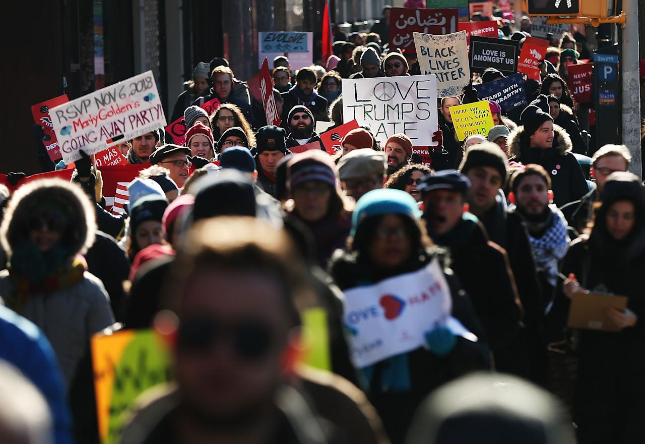 <p>Hundreds of people demonstrate against racism in the Brooklyn neighborhood of Bay Ridge on Martin Luther King (MLK) Day on January 15, 2018 in New York City. Jan. 15, 2018 in New York City. (Photo: Spencer Platt/Getty Images) </p>
