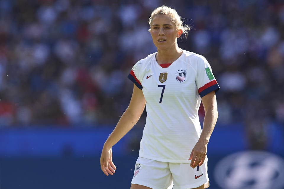 PARIS, FRANCE - JUNE 16: Abby Dahlkemper of USA looks on during the 2019 FIFA Women's World Cup France group F match between USA and Chile at Parc des Princes on June 16, 2019 in Paris, France. (Photo by Quality Sport Images/Getty Images)