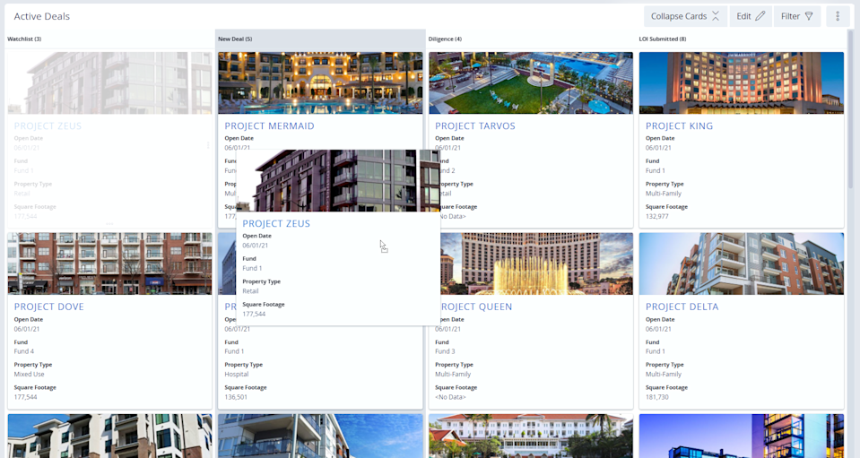 Card-Based Images within DealCloud Real Estate Investment Software