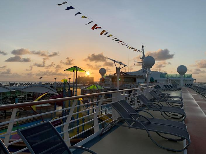 View from the deck of Royal Caribbean's Adventure of the Seas.