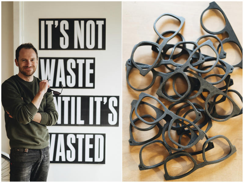 This combination of photos released by w.r.yuma shows Belgian designer Sebastiaan de Neubourg, left, and a collection of frames made from recycled materials. De Neubourg uses recycled plastic bottles, car dashboards and refrigerators for sunglasses for his brand, w.r.yuma.  (Christophe Morre/w.r.yuma via AP)