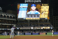 Los Angeles Dodgers' Trea Turner (6) leads off from first during the fifteenth inning of a baseball game against the San Diego Padres, Thursday, Aug. 26, 2021, in San Diego. (AP Photo/Gregory Bull)