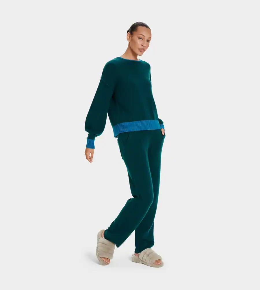 <p>If you're feeling luxurious, this colorblock <span>UGG Renata Cashmere Crewneck</span> ($298) and this <span>UGG W Aida Cashmere Pant</span> ($298) make the perfect set.</p>