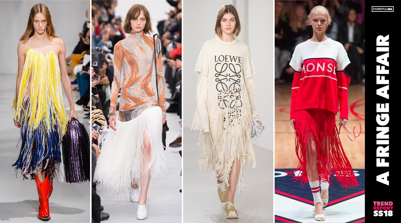<p>Fringe dresses, tops, and skirts were spotted all throughout fashion week. The '80s style has made a comeback, this time in new pops of color. (Photo: ImaxTree) </p>