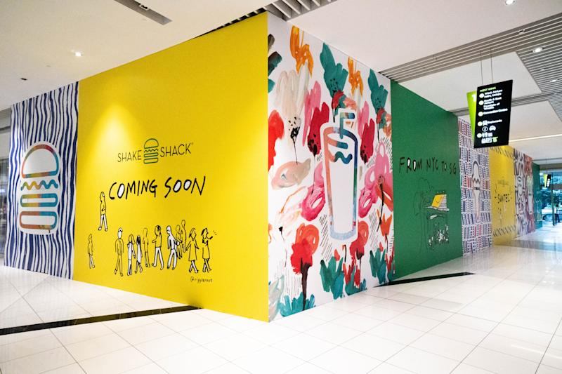 Hoarding at Shake Shack's restaurant in Suntec City mall in Singapore ahead of its opening. (Photo: Shake Shack)