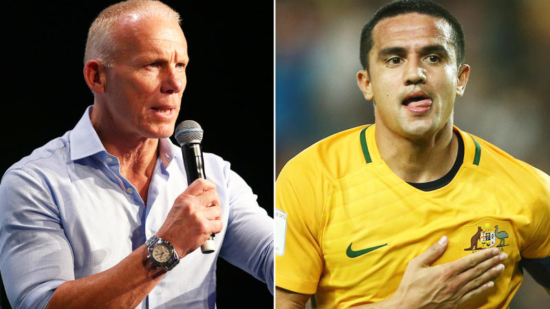Robbie Slater and Tim Cahill, pictured here in 2019.