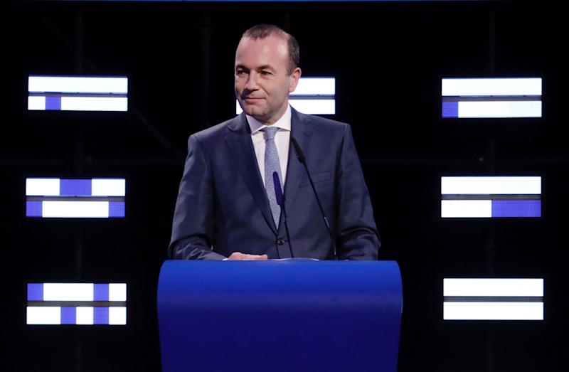 Candidate to the presidency of the European Commission, Germany's Manfred Weber speaks at the European Parliament in Brussels, Monday, May 27, 2019. From Germany and France to Cyprus and Estonia, voters from 21 nations went to the polls Sunday in the final day of a crucial European Parliament election that could see major gains by the far-right, nationalist and populist movements that are on the rise across much of the continent. (AP Photo/Olivier Matthys)