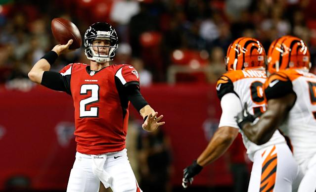 ATLANTA, GA - AUGUST 16: Matt Ryan #2 of the Atlanta Falcons is pressures by Jamaal Anderson #92 and Thomas Howard #53 of the Cincinnati Bengals at Georgia Dome on August 16, 2012 in Atlanta, Georgia. (Photo by Kevin C. Cox/Getty Images)
