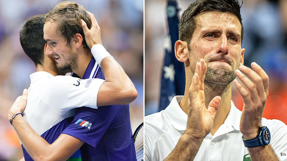 Pictured here, Novak Djokovic cries in disappointment after losing the US Open final.