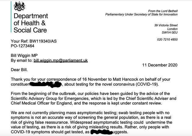 Lord Bethell letter on asymptomatic testing risks (Photo: HuffPost UK)