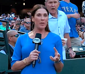george w bush just videobombed a reporter at a baseball game on live tv
